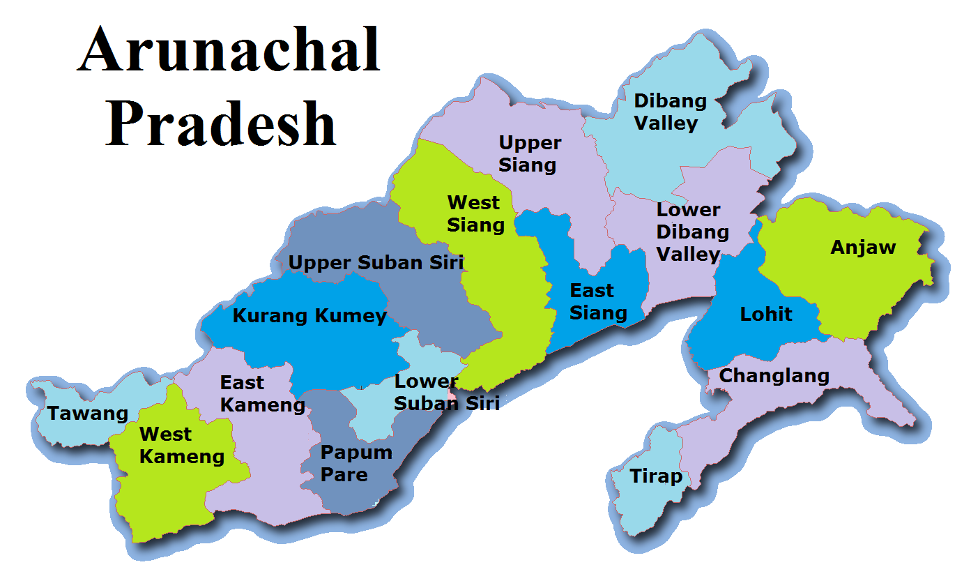 Arunachal Pradesh Map And Districts Map Dhanviservices Dhanvi Services