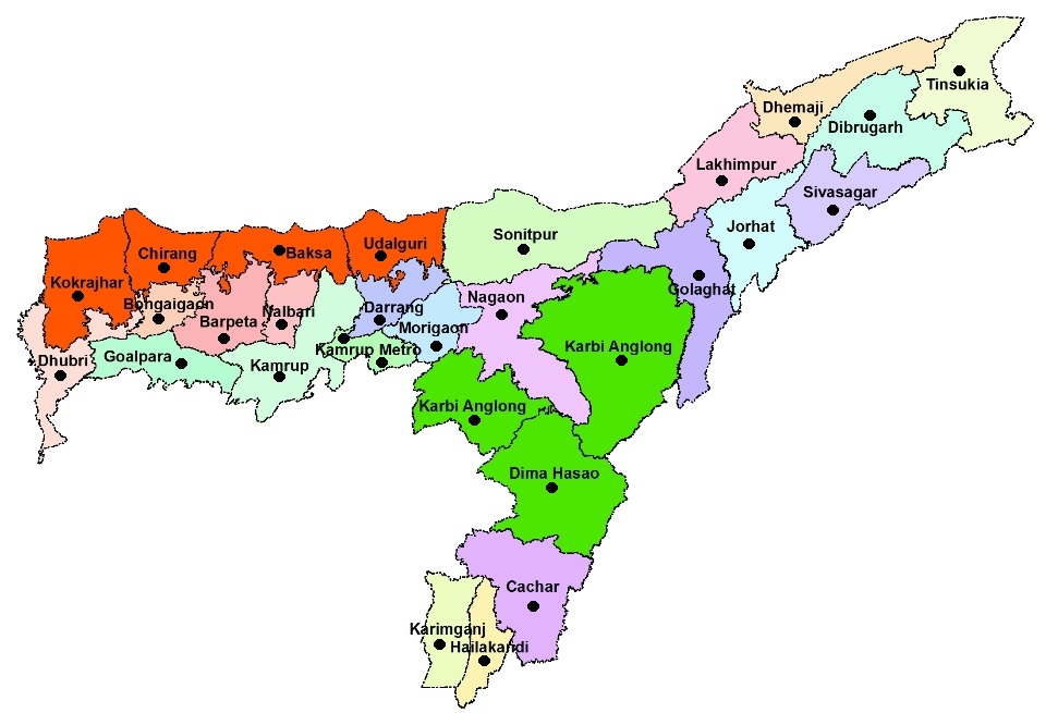 Assam Map And Districts Map Dhanviservices Dhanvi Services