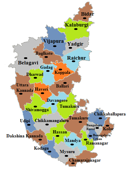 Karnataka State Map And Districts Map Dhanvi Services Dhanviservices