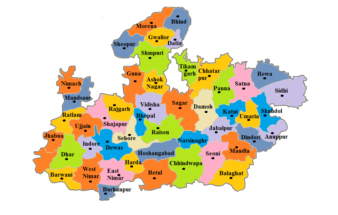 Madhya Pradesh State Map And District Map Dhanviservices Dhanvi Services