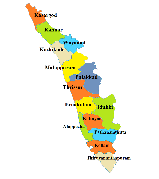 Kerala State Districts Area Population & Other Information